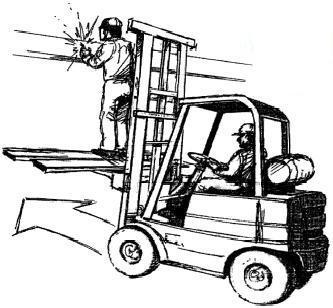 Не перемещайте погрузчик, когда на высоте работает человек !