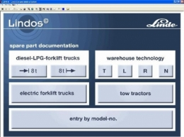 Каталог запчастей для погрузчиков фирмы Linde Fork Lift Truck.  Снабжен программой поиска детали по номеру и наименованию.  Программу Linde можно установить частично с работой или полностью на HDD, поддерживает английский язык.  Интерфейс программы Linde достаточно простой, есть поиск по типу, модели, номеру и наименованию детали.
